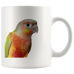 Pineapple Green Cheeked Conure Ceramic Mug 11 oz - Jim N Em Designs