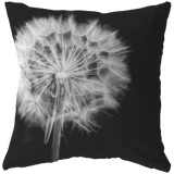 Dandelion Black and White Throw Pillow Home Decor - Jim N Em Designs