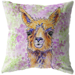 Llama Pillow Color Splash Purple and Green Portrait Head Shot - Jim N Em Designs
