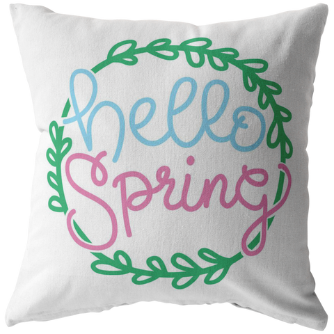 Hello Spring Throw Pillow Pastel Floral Text Leaves - Jim N Em Designs