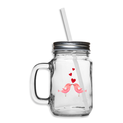 Pink Birds Kissing Hearts Mason Jar Mug - Jim N Em Designs