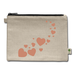 Hemp Carry All Pouch, Zipper Pouch, Glitter Hearts - Jim N Em Designs