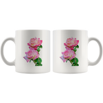 Pink Rose Photo Ceramic Mug 11 oz - Jim N Em Designs