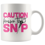 Caution Known to Snip Barber Hairdresser Ceramic Mug 11 oz. - Jim N Em Designs