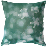 Green Bokeh Lights Flowers Throw Pillow Home Decor - Jim N Em Designs