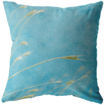 Waves of Grass Aqua Throw Pillow Wheat Straw - Jim N Em Designs
