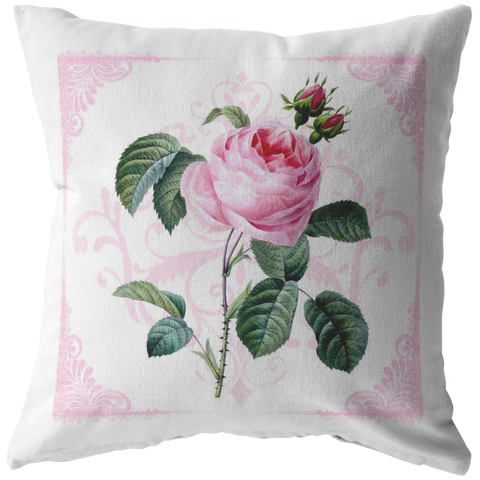 Pink Damask Cabbage Rose Throw Pillow Garden Flower Floral Shabby Home Decor