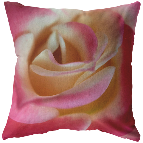 Pink and White Rose Macro Close Up Petals Throw Pillow Home Decor Flower Floral Garden - Jim N Em Designs
