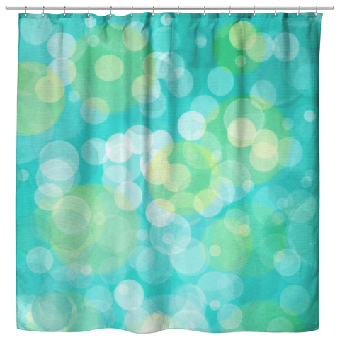 Aqua and Yellow Bokeh Dots Circles Pastel Shower Curtain - Jim N Em Designs