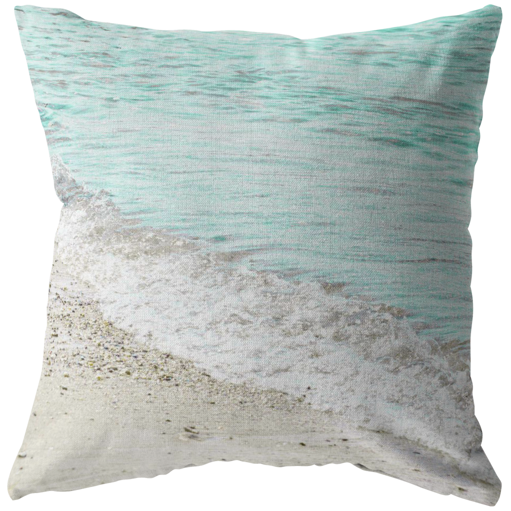 Aqua Ocean Wave Sand Throw Pillow Home Decor Jim N Em Designs