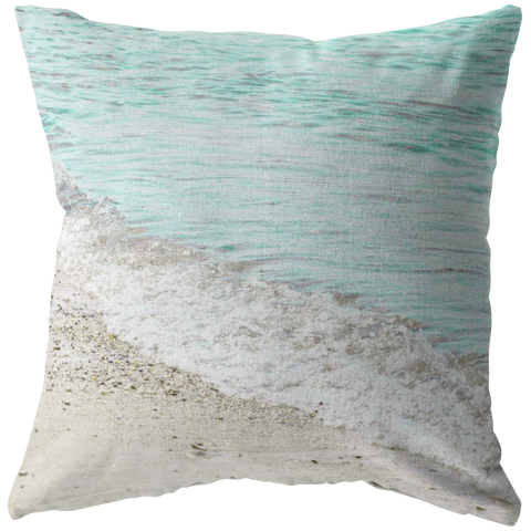 Aqua Ocean Wave Sand Throw Pillow Home Decor - Jim N Em Designs
