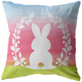 Easter Spring Pastel Watercolor Rabbit Silhouette Throw Pillow Home Decor