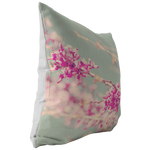 Spring Blossoms Pink Redbud Mint Background Throw Pillow Home Decor - Jim N Em Designs