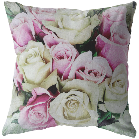 Pink and Yellow Roses Throw Pillow Nature Garden Flower Floral - Jim N Em Designs