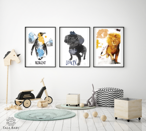 Penguin, Dog and Lion Wall Art