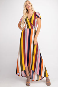 bold stripe wrap maxi dress