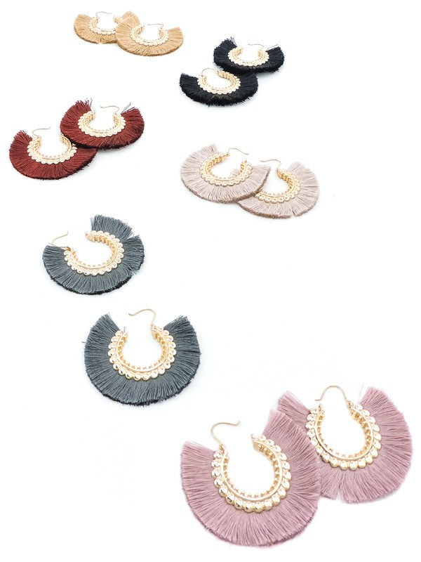 sunflower fringe tassel earrings