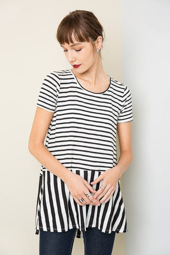 two way stripe peplum top