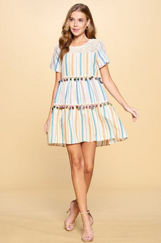 pom stripe tiered dress