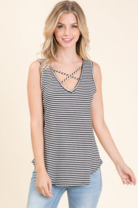 criss cross stripe tank