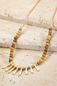 natural stone metal fringe necklace