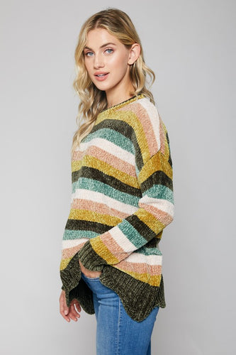 chenille scalloped bottom sweater