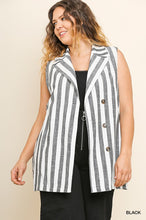 stripe button vest