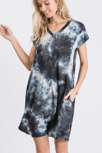 dye v neck swing dress