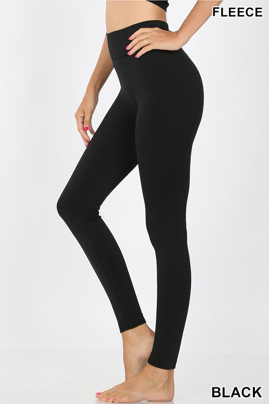 ribbed waist fleece seamless leggings