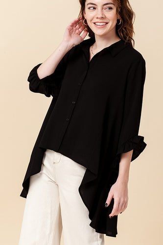 high low button top w/ruffle sleeve