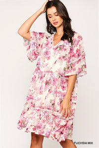 super relaxed floral frill dress