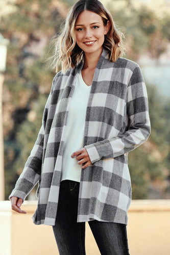 open front checkered cardigan