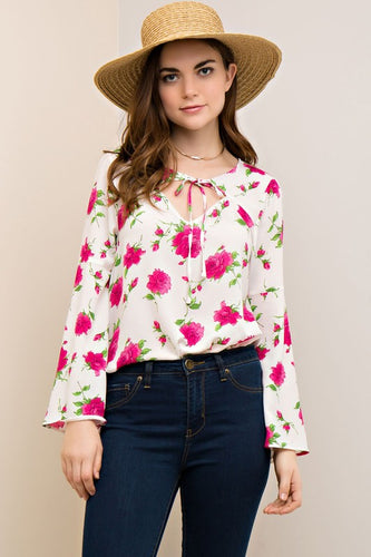 bell sleeve floral neck tie top