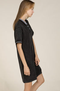 casual collar detail slip on dress