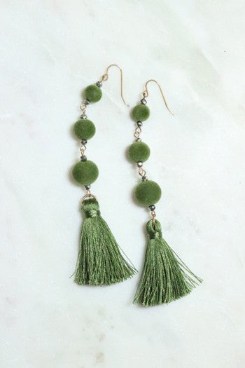long velvet bead & tassel earrings