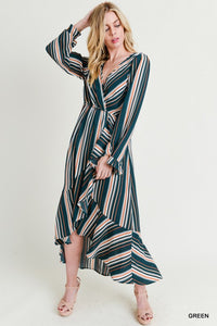 long sleeve stripe high low maxi dress
