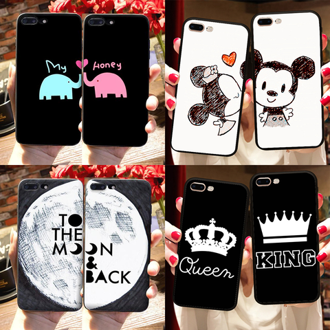 Coque iPhone Love Couple Amour Pour Deux Mickey Minnie My Honey Queen King I love you to the moon and back