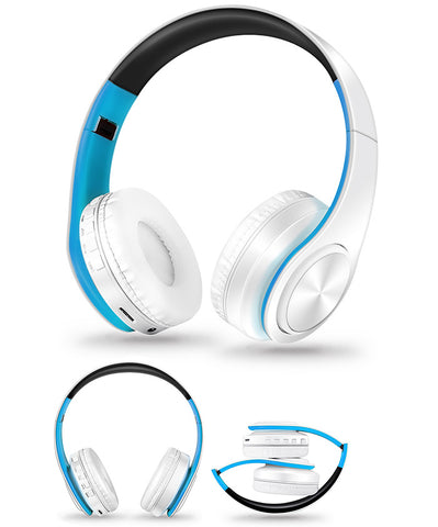 Casque Audio Sans Fil Bluetooth Anti Bruit Avec Micro Blancbleu