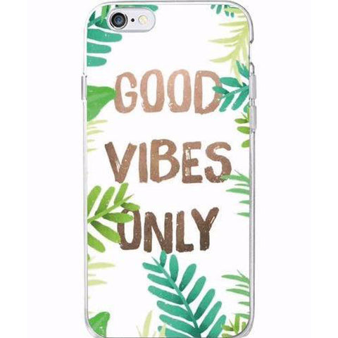 "Coque Citation 📖 "" Good vibes only "" iPhone Xs / Xs Max / Xr / X / 8 Plus / 8 / 7 Plus / 7 / 6 Plus / 6 / SE / 5s - PommeAddict.fr"