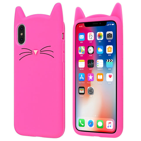 "Coque Animaux 🐱 "" Chat - silicone "" iPhone Xs / Xs Max / Xr / X / 8 Plus / 8 / 7 Plus / 7 / 6 Plus / 6 / SE / 5s / 5 - PommeAddict.fr"