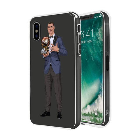 "Coque Foot ⚽ "" Cristiano Ronaldo - Ballon d'or "" iPhone Xs / Xs Max / Xr / X / 8 Plus / 8 / 7 Plus / 7 / 6 Plus / 6 / SE / 5s - PommeAddict.fr"