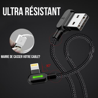 Cable ? Lightning Ultra Résistant et Charge Rapide pour iPhone/iPad/iPod - Pomme Addict