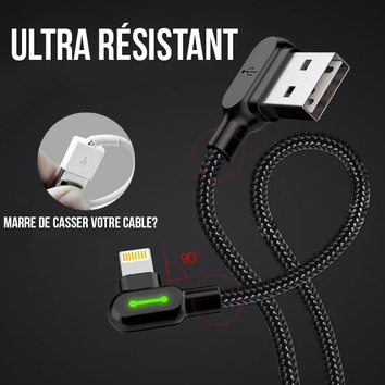 Cable 🔋 Lightning Ultra Résistant et Charge Rapide pour iPhone/iPad/iPod - Pomme Addict