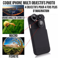 Coque multi objectif fish eye grand angle macro zoom x2 pour iPhone 8/iPhone 8 Plus/iPhone 7/iPhone 7 Plus/iPhone 6s/iPhone 6s Plus/iPhone 6/iPhone 6 Plus.