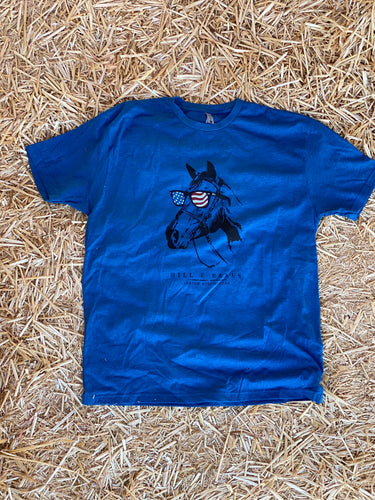 Groovin' American Style Horse w/Sunglasses T-Shirt Blue