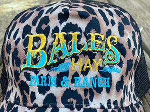 Wild and Wooly Leopard Print Hat with Original Bales Logo