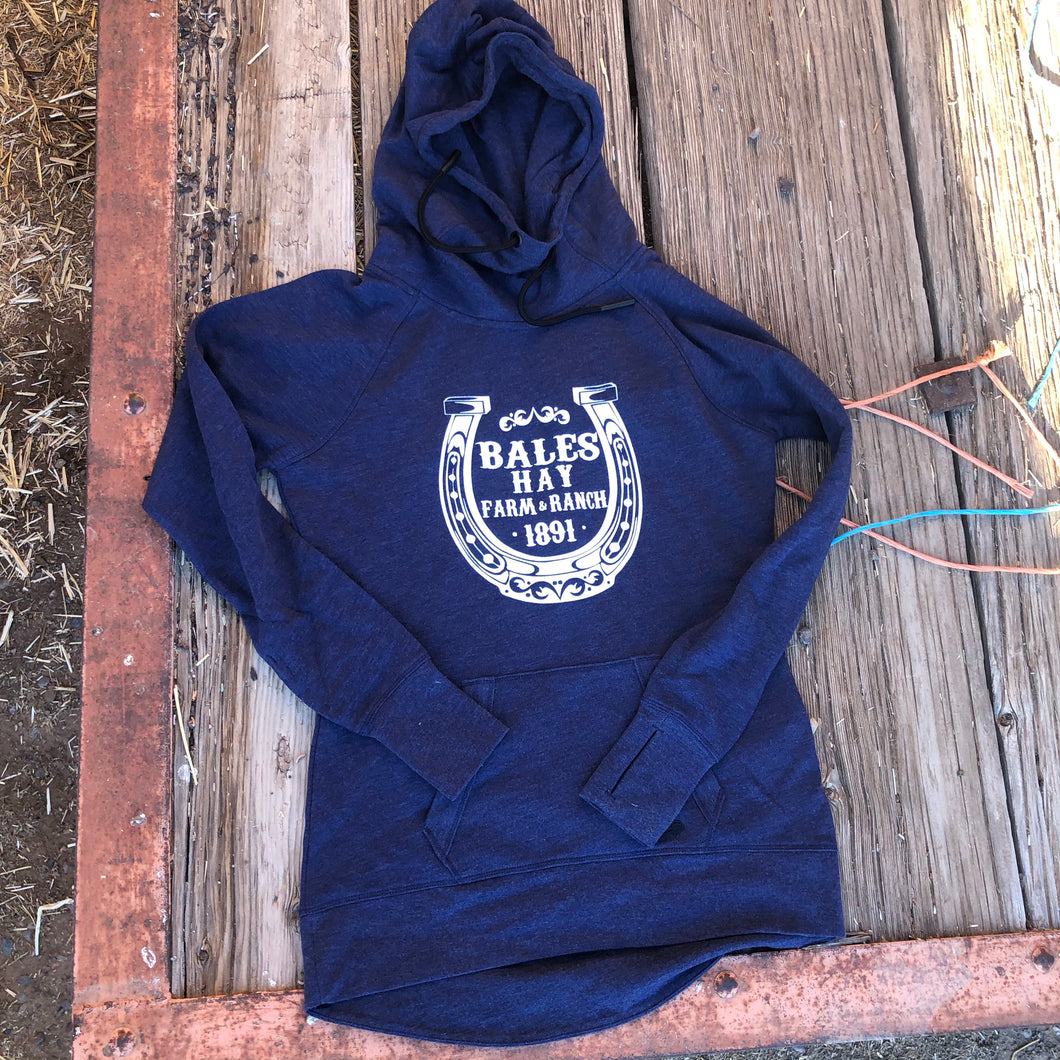 Women's horseshoe Hoodie - Dark Heather Blue