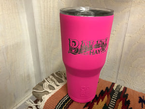 Bales Hay Tumbler: 30oz Pink with Laser Inscription