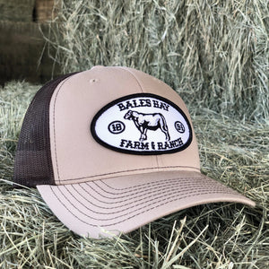 Bales Hay Beef Cow Patch Hat - Khaki/Brown