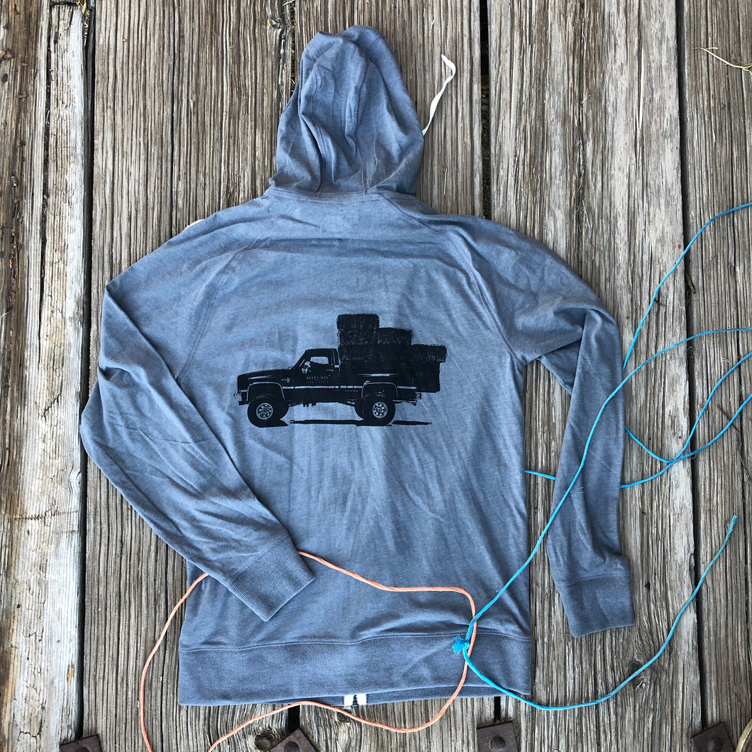 UNISEX Lightweight Square Body Hauler Zip Hoodie - Light Grey